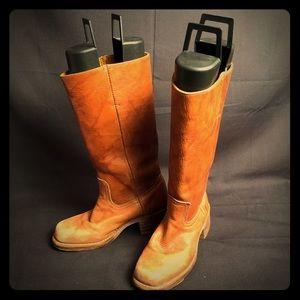 Frye honey tan campus boots